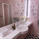 The pink bathroom